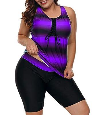 LALAGEN Womens Plus Size Racerback Tankini Set Two Piece Swimsuit with Boyshort Purple XXXL-1