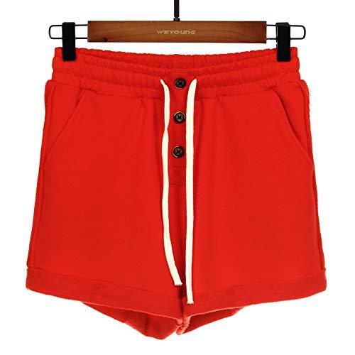 Pantalones Cortos para Mujer Casual Doblado Doblado Cordón Cintura elástica Botones Expuestos Entrenamiento Correr Simple Color sólido 4XL