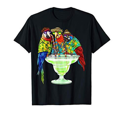 Parrots Drinking Margarita Hawaiian Shirt Vacation Birds T-Shirt