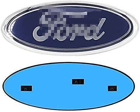 JUNBIE 1pcs BLUE & CHROME Fit for 2005-2014 FRONT GRILLE/TAILGATE 9''x3.5'blue Emblem (BLUE)
