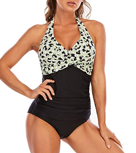 LA ORCHID Laorchid - Bañador de una pieza para mujer, push up, tallas grandes, cuello en V, sexy y atado al cuello, monokini para adelgazar Leopardo verde. 46