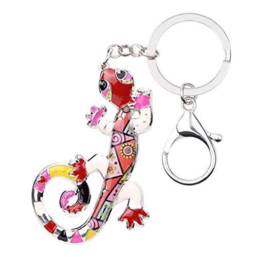 YSCSTORE HumoliStore Emaille Metall Eidechse Gecko Schlüsselanhänger Schlüsselanhänger, Handtasche Charme Schlüsselanhänger, Zubehör Damen Tierschmuck Stilvoll und schön (Color : Red)