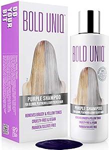 BOLD UNIQ by B Uniq - Champú matizador con pigmentos violetas para conseguir tonos plateados - Adiós al amarillo: revitaliza el cabello rubio teñido, decolorado y con mechas - Sin sulfatos - 250 ml