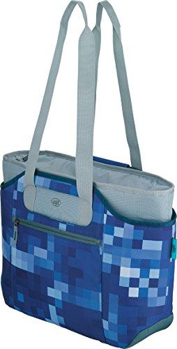 alfi Thermo-Kühltasche, isoBag mittel 23 Liter - Isolierte Einkaufstasche aus Polyester, blau kariert 54 x 16,5 x 37 cm - 2in1, Isoliertasche inkl. extra Tragetasche - 0007.803.812