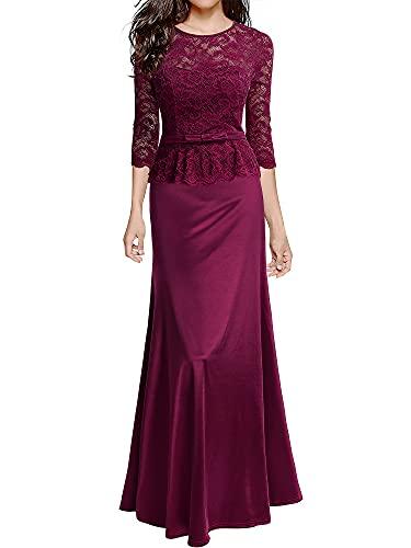 Miusol Women's Retro Floral Lace 2/3 Sleeve Slim Peplum Wedding Maxi Dress, A-wine Red, Large
