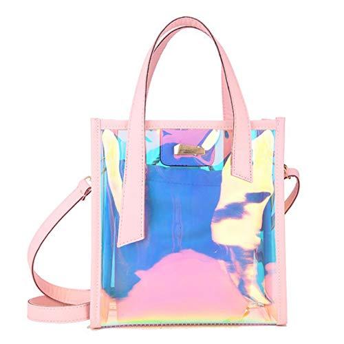awhao Lässige Shiny Holographic Handtasche Laser Clear Tote Bag Schulter Handtasche Hologramm Crossbody Strand Reisetasche Wasserdicht Große Kapazität Regenbogen Tasche Für Frauen astounding