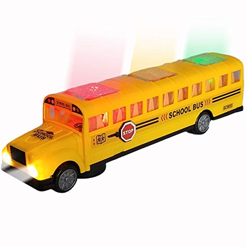 ANJ Kids Toys - Battery Operated Bump & Go Playtime Long-Nose Yellow School Bus | Beautiful Flashing Lights Including Headlights | Playing Music and Horn Sounds | Stop Sign Swings Open!! (Age 3+)