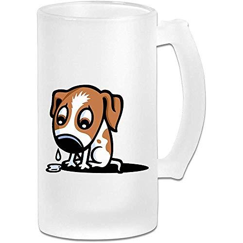 Gefrostetes Bierglas, trauriger Hund Gesicht ClipArt personalisierte Stein, Geschenk für Bierliebhaber, 500ml (16,9 Unzen)