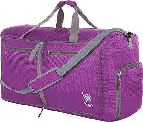 Bago 60L Duffle Bags for Men & Women - 23' Foldable Travel Duffel Weekender Bag, Purple