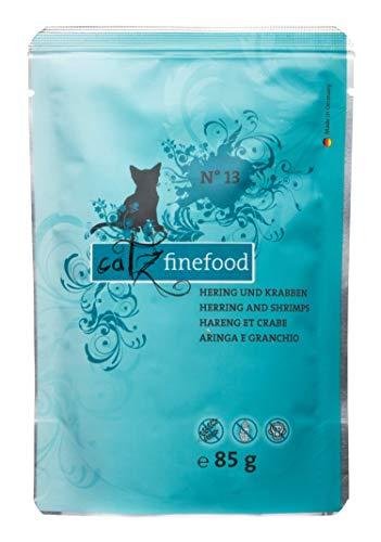 catz finefood N° 13 Haring & Krabben fijn voedsel kattenvoer nat en verfijnd met pompoen & aloë vera, 1 x 85 g zak