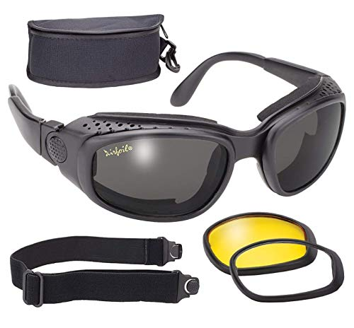 Pacific Coast Feather Airfoil Black Convertible Goggle and Sunglass with 3 Removable Polycarbonate Le - One Size