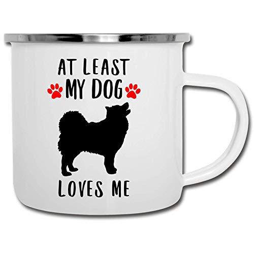 N\A Divertida Silueta de Lapphund finlandés Al Menos mi Perro me ama esmaltado Camper Mug 11oz