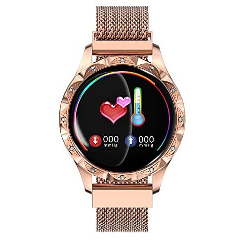 FVIWSJ Smart Watch Mujer Reloj Inteligente Fitness Tracker Reloj Deportivo,Calorías,Podómetro IP67 Controlador de Música Monitoreo Actividad para Android iOS,Oro