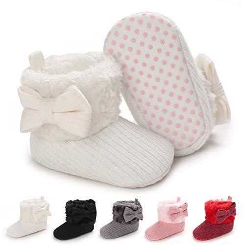 BENHERO Infant Baby Boys Girls Boots Premium Soft Sole Anti-Slip Warm Winter Snow Boots Newborn Crib Shoes(12-18 Months Toddler), F-White