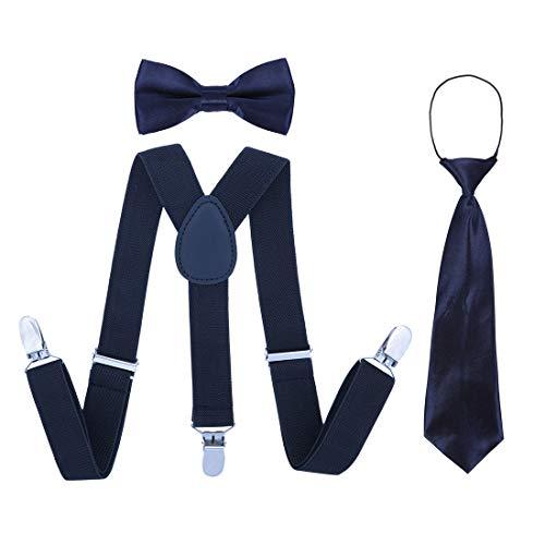 Kinder Hosenträger Fliege Krawatte Set - Verstellbare Elastische Mode Kleidung Accessoire für Jungen und Mädchen (Navy Blau)