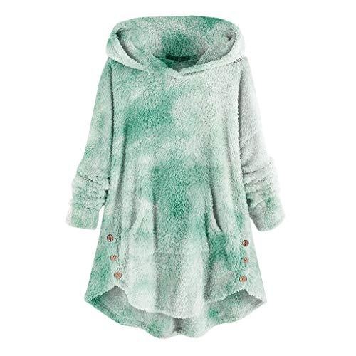 YSLMNOR Tie Dyed Fleece Blouse Womens Asymmetrical Button Hem Hoodie with Pocket Plus Size Tops Green