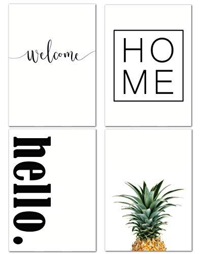 Love & Smile® Poster schwarz weiß 4er Set I Welcome Home Hello I DIN A4 I Deko Wohnbereich Wohnzimmer Küche I ohne Rahmen