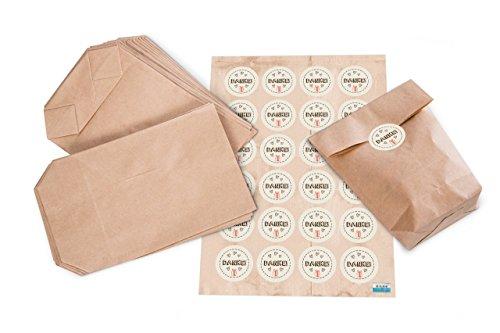 Geschenktüten Set: 24 Kraftpapier Beutel mit Boden Papier-Tüten 14 x 22 x 5,6 cm + 24 Sticker 4 cm DANKE in beige braun rot 3 Herzen + Geschenk-Verpackung Tüte zum Verschließen und Befüllen