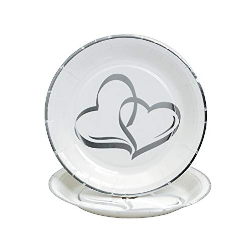 Fun Express - Two Hearts Foil Dessert Plates (25pc) for Wedding - Party Supplies - Print Tableware - Print Plates & Bowls - Wedding - 25 Pieces