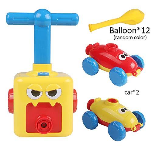 Forart Coche de globo de energía inercial para niños experimento de ciencia del coche con aire experimento rompecabezas diversión niños juguete educativo de energía inercial para automóvil
