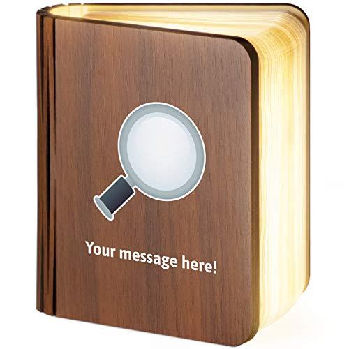 Leselampe aus Holz, magnetisch, zusammenklappbar, mit Lupe, Emoji-Motiv, glas holz, S