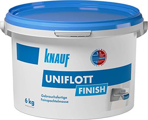 Knauf 696535 Uniflott Finish Gipsspachtel End-Verspachtelung von Gipsplattten-Fugen, 6 kg – Spachtel, Feinspachtel-Masse gebrauchsfertig, weiß