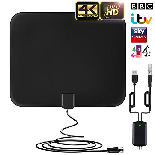 TV Aerial Indoor Digital Freeview 60 Miles/96Km Range HDTV Antenna with...