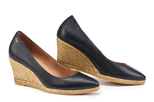 VISCATA - Zapatos de tacón con cuña de 7 cm, hechos a mano en España, estilo elegante, con tacón de alpargatas, negro (Negro), 39 EU