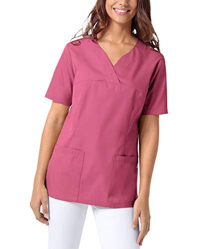 CLINIC DRESS Schlupfkasack Damen Kasack für die Pflege 1/2 Arm Regular Fit 50% Baumwolle 95 Grad Wäsche Rosenholz M