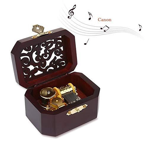 Z.L.FFLZ La Caja de música de la Vendimia Clásica de Madera Caja de música grabada mecánica Octogonal de la Vendimia de la manivela Retro Exquisito Caja de música (Color : Ca-Non, Size : Gratis)