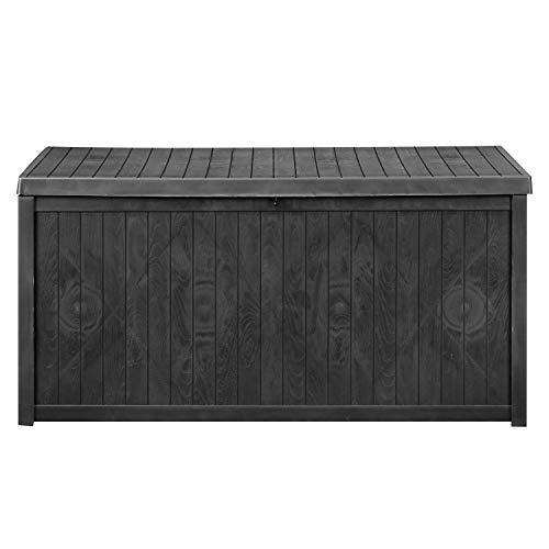 GDY 113 Gallon Patio Storage Deck Box Outdoor Storage Plastic Bench Box,Resin Wicker Storage Container Bench Seat (Black (113 Gallon))