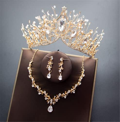 WOFEI Corona Nupcial Sombreros De 3 Piezas Collar Pendientes De Cristal Decoración del Vestido De Aniversario De Boda,Gold 2