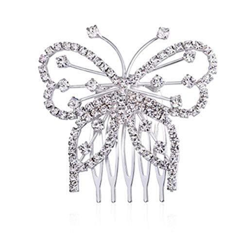 Clyine Damen Schmetterling eingelegt Rhinestonetwinkling Elegante Haargriff Accessoires Brautkleid Accessoires Prom Schmuck Kopfschmuck,Silber