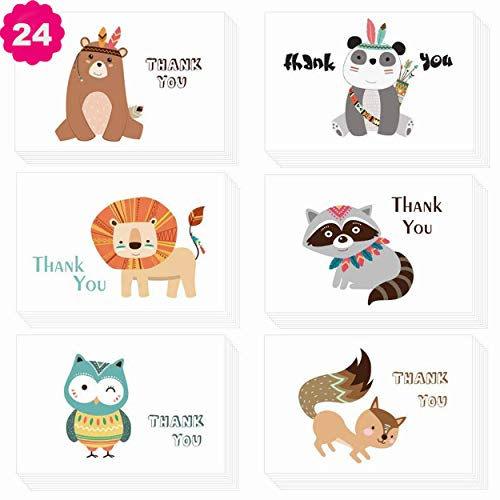 Morkka 36 Pack Brown kraftpapier Thank You Cards Thank U Greeting Card W/36 kraftpapier envelopes en 36 stuks envelope Thank You stickers voor bruiloft Graduation Men & Women sympathy 24pcs Cartoon-1