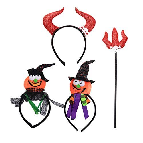 Lurrose 4pcs Halloween Teufel Stirnband und Kürbis Haarbänder Teufel Gabel Dämon Horn Stirnbänder für Kinder Kinder