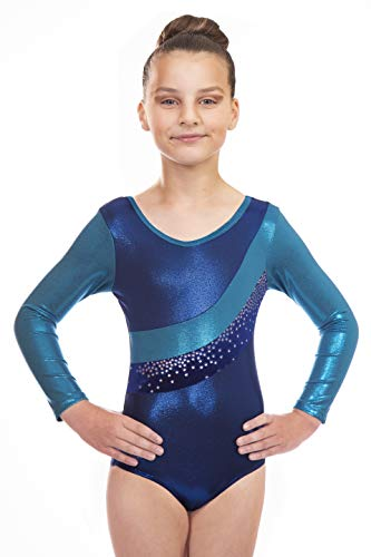 Vincenza Dancewear Jazmin Girls Long Sleeved Leotard for Gymnastics (Blue, 9-10 Years, 30