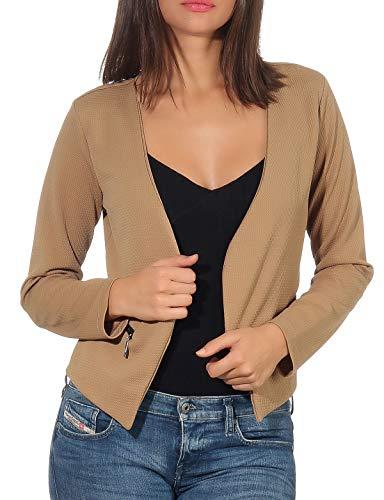 Malito Damen Blazer ohne Kragen | Sakko im Basic Look | Kurzjacke mit Zipper | Jacke - Jackett - Blouson 6040 (XXL, Hellbraun)