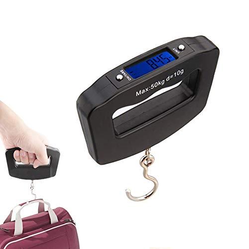 Mengshen Mini Báscula de Equipaje portátil Balanza de pesaje electrónica Digital 110 LB / 50 kg con Gancho de Pesca Función de Tara Pantalla LCD retroiluminada para Home Farm Factory Hunting Outdoor
