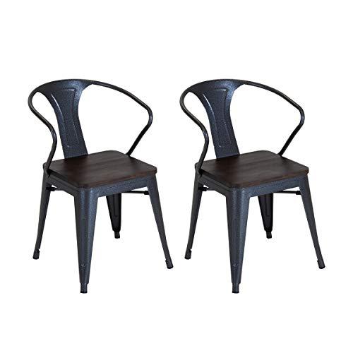 Charles Bentley - Par de sillas Superiores de Madera industriales apilables de Metal Gris Gunmetal