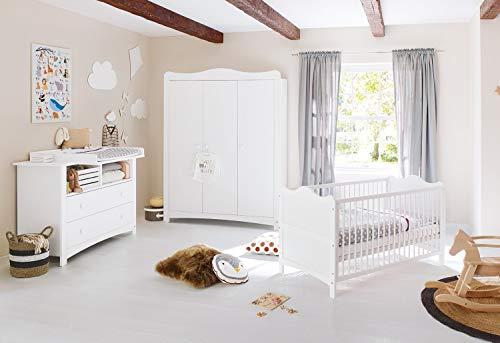 Pinolino Florentina Nursery Room Extra Large Large 3-Piece Scalable Cuna Cambiador Cómoda Extra Large Armario Grande