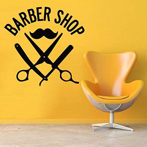 Calcomanía de pared para peluquería o bigote con tijeras extraíbles, A6, 57 x 57 cm