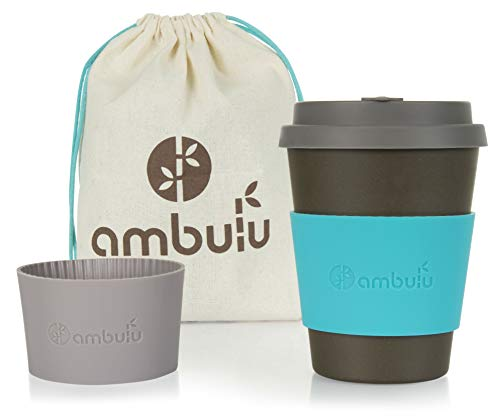 Reusable Coffee Cup for Travel To Go 12oz   Portable Bamboo Mug with Lid, 2 Sleeves, Carry Bag   Plastic and BPA Free   Dishwasher Safe Eco Cups 350ml