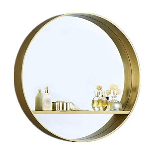 Badkamer Wandspiegel, Badkamer Spiegel, 60 cm Badkamer Spiegelkast Badkamer Spiegel Met Plank Opslag Retro Goud Houten Frame