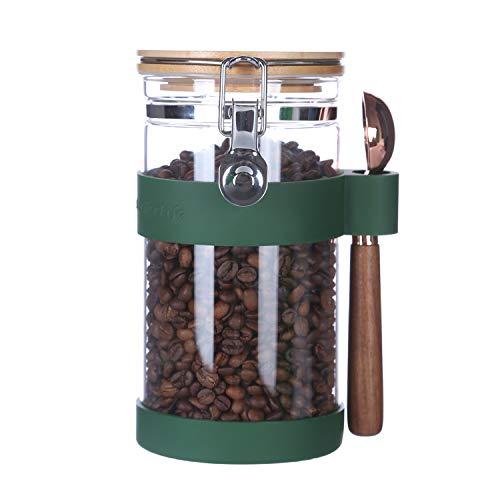KKC コーヒー豆保存容器スプーン付き 密閉 キャニスター コーヒー ガラス 気密ボトル 保存瓶 食品保存ボトル密封容器 貯蔵 砂糖 紅茶 珈琲豆 海藻, ガラスびん 1200ML