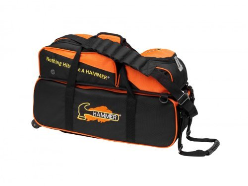 Hammer Triple Bowling Ball Roller Tote, Black/Orange by Hammer