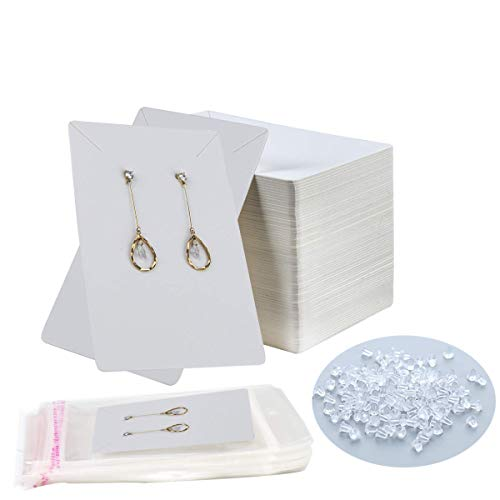 Earring Display Cards 100 PCS Earring Holder Cards with 200 Earring Backs and 100 Self- Seal Bags for Earring Necklace Jewelry Display Earring Cards Kraft Paper Baffo 3.54x2.36 Inch(White)