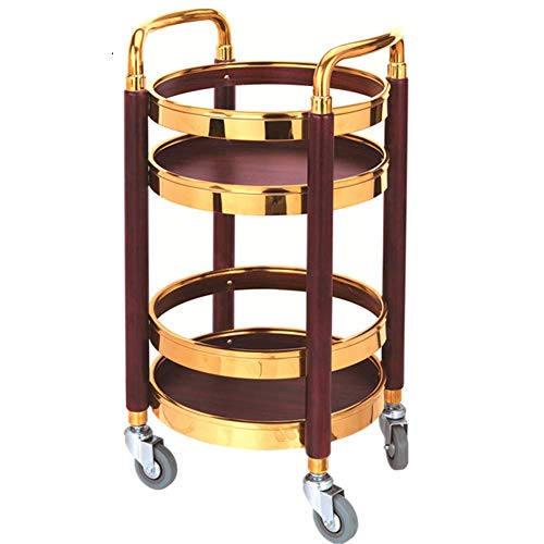 YGCBL Multifunction Portable Hand Trucks,Trolleykitchen Trolley Island Rolling Serving Carts 2 Tier Trolley Utility Cart Solid Wood Frame Round Guard Rails Universal Wheels,2 Colors,B,40 X 80 cm