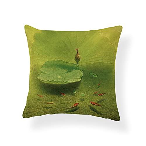 Hermoso Estilo Chino Lotus Funda de Almohada Libélula Kingfisher Fish Sofá Decoración Cojín Pato mandarín Almohada de Lino de poliéster Verde 2pcs 45 * 45cm 07