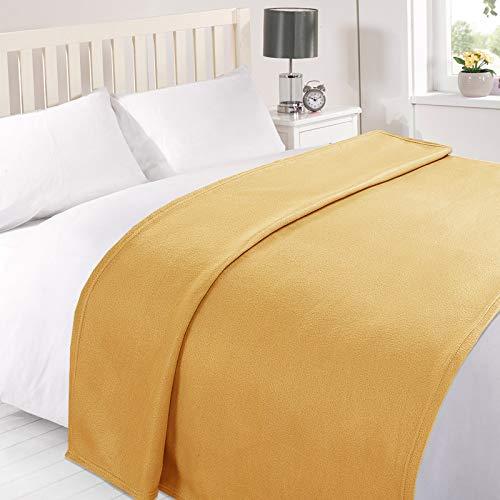 Dreamscene Large Warm Polar Fleece Throw Over Soft Luxury Sofa Bed Blanket, Plain Ochre Mustard Yellow - 120 x 150 cm