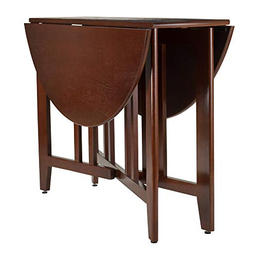 Winsome Wood Alamo, Double Drop Leaf, Round Table Mission, Walnut, 42-Inch